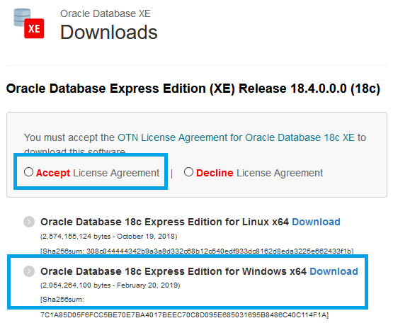 Lincense agreement for Oracle Express Edition download