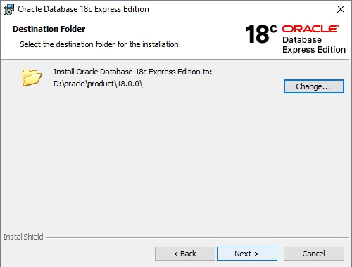 Oracle XE installer installation path
