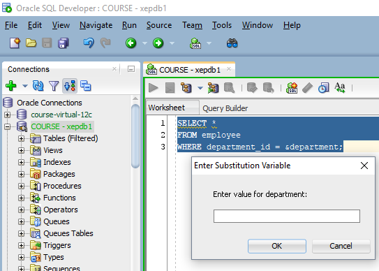SQL Developer prompting for a value of a substitution variable
